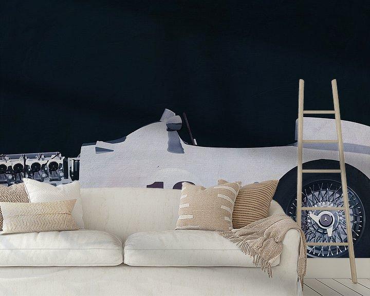 Sfeerimpressie behang: Mercedes W196 Zilveren Pijl 1954 B&W van Jan Keteleer
