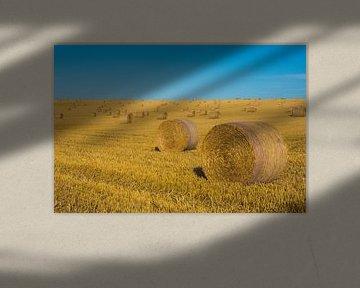 Hooibalen, hooi en blauwe lucht. Typisch Frankrijk van Paul van Putten