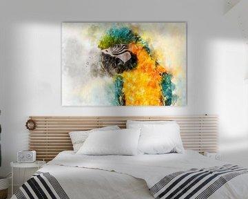 Porträt eines blau-gelben Papageis von Elles Rijsdijk