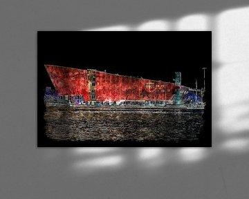 Nemo Wissenschaftsmuseum bei Nacht (Kunst) von Art by Jeronimo