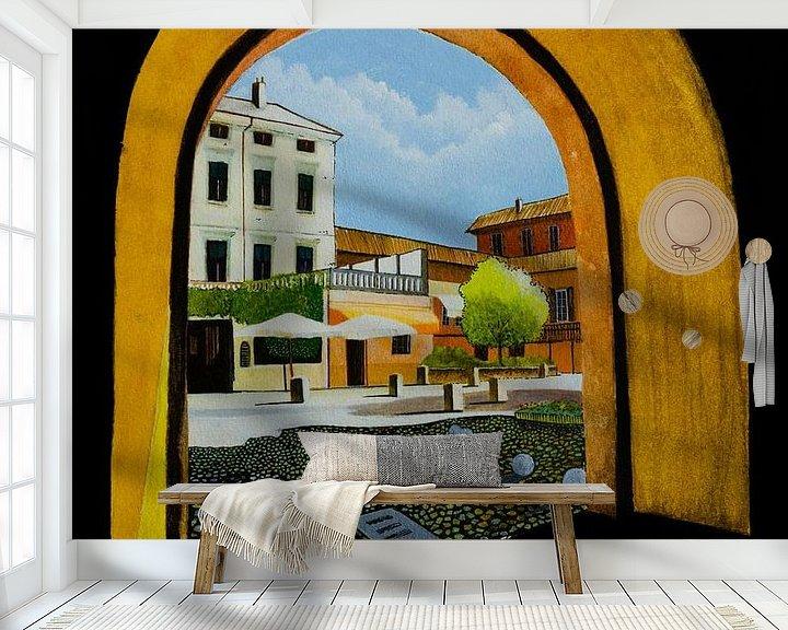 Beispiel fototapete: Peschiera del Garda in Italien | Aquarellmalerei von WatercolorWall