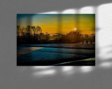 Sonnenuntergang im Rotterdamer Polder von Fred Leeflang