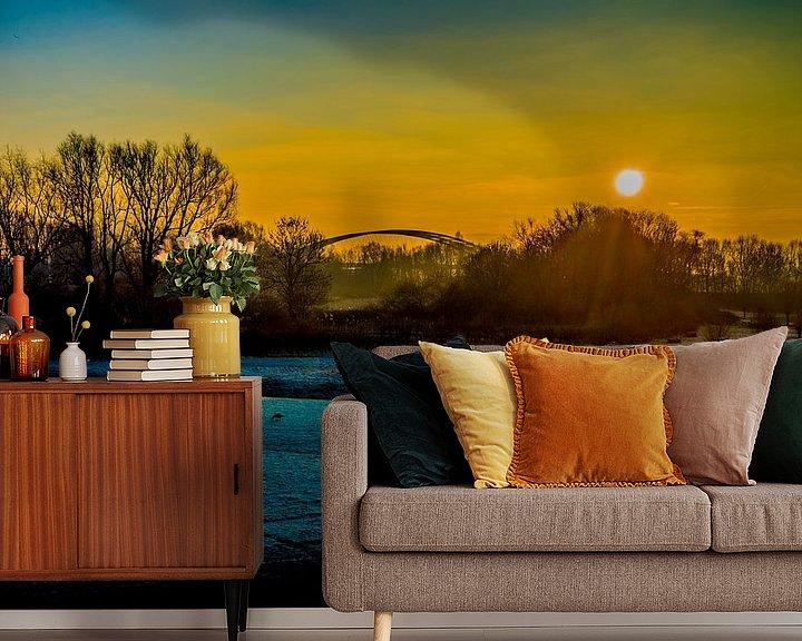 Beispiel fototapete: Sonnenuntergang im Rotterdamer Polder von Fred Leeflang