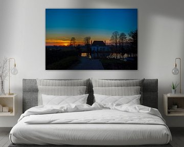 Sonnenuntergang in Overschie (Rotterdam) von Fred Leeflang