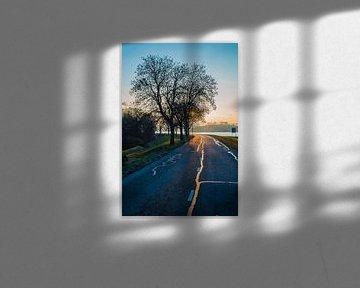 Zon schijnt op natte weg van Fred Leeflang