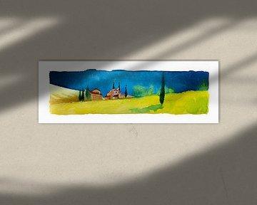 Toscaanse landschap | Aquarel schilderij van WatercolorWall