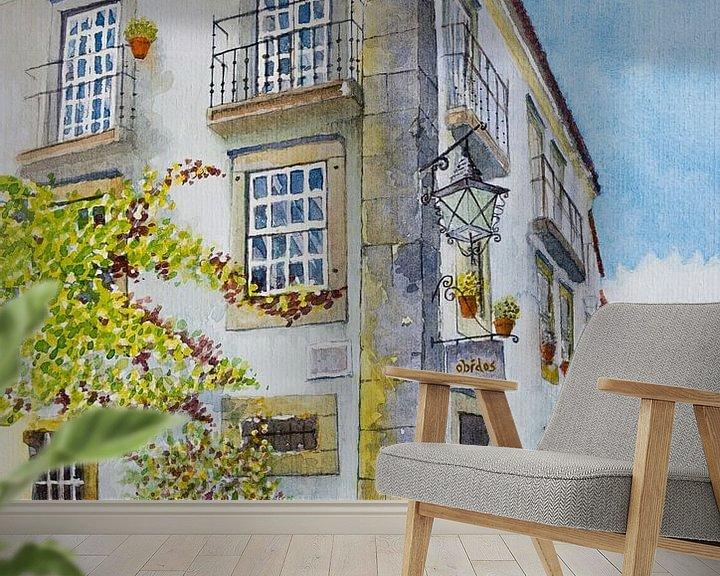 Sfeerimpressie behang: Gezellig straatje in Óbidos, Portugal | Aquarel schilderij van WatercolorWall