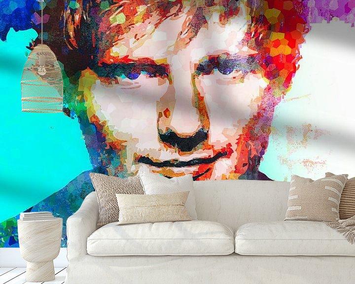 Beispiel fototapete: Ed Sheeran Abstraktes Pop-Art-Portrait von Art By Dominic