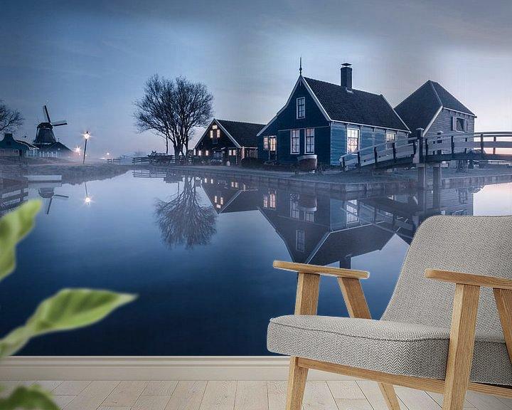 Sfeerimpressie behang: Een koude ochtend bij de Zaanse Schans van Niels Tichelaar