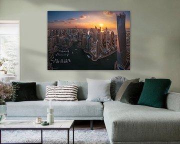 Dubai Marina Sunset Panorama von Jean Claude Castor