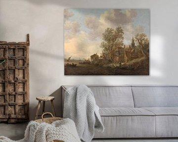 Blick auf eine Stadt am Fluss, Jan van Goyen