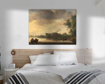 Eine Flusslandschaft mit Kalkbrennöfen, Jan van Goyen