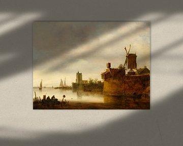 Flusslandschaft mit Windmühle, Jan van Goyen