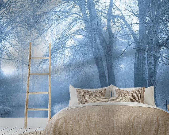 Sfeerimpressie behang: Mystiek bos en beek (portret) van Fotografie Jeronimo