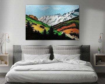 Roncobello in Italië | Schilderij in acrylverf van WatercolorWall