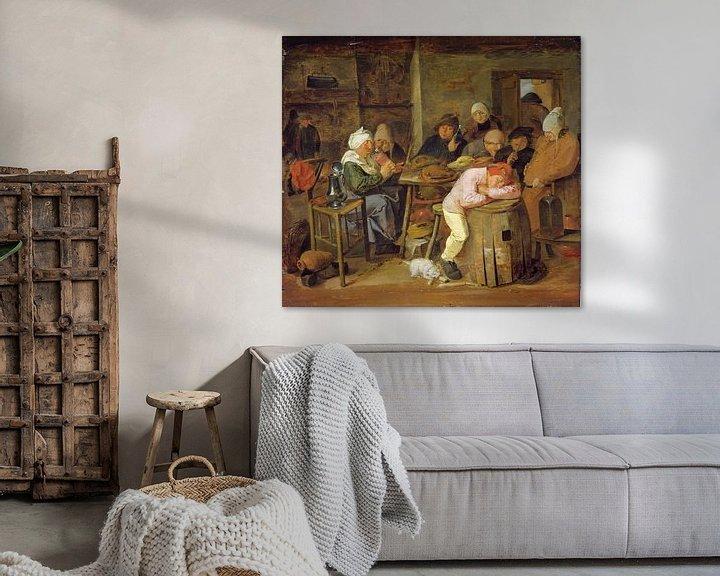 Beispiel: Bauern in einem Gasthaus, Adriaen Brouwer