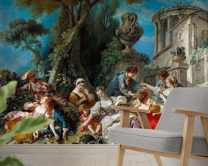 Beispiel fototapete: Die Vogelfänger, François Boucher