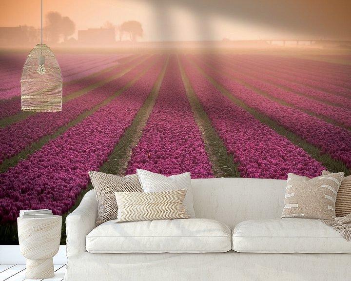 Beispiel fototapete: Tulpen im Nebel von Martijn Tilroe