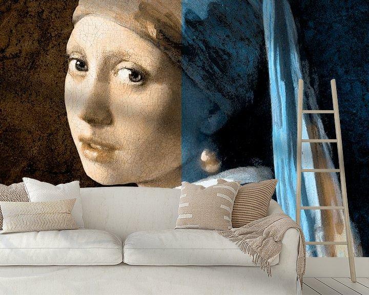 Beispiel fototapete: Girl with Pearl Earring – The Split Colours Edition von Marja van den Hurk