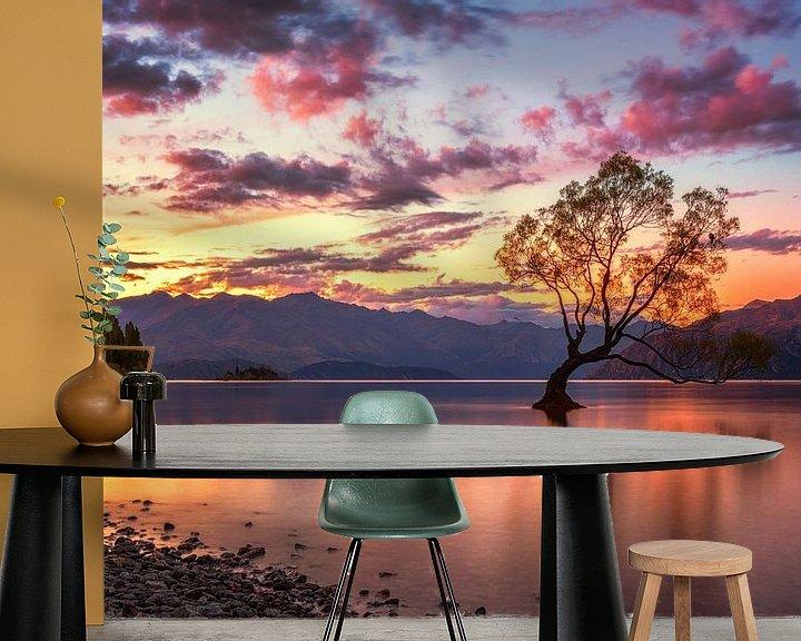 Impression: Le coucher de soleil de l'arbre de Wanaka sur Cho Tang