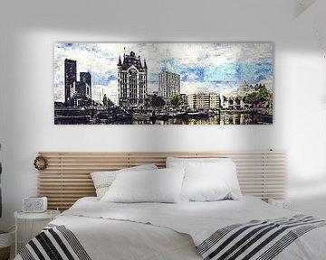 Das Weiße Haus und die Kubushäuser in Rotterdam (Kunstwerk) von Art by Jeronimo