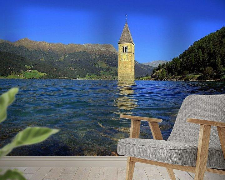Beispiel fototapete: Kirchturm im Reschensee von Patrick Lohmüller