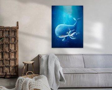 süßer Walfisch mit Baby von Stefan Lohr