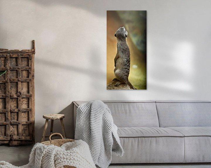 Beispiel: Aufmerksame süße Erdmännchen im Wert von Kolumne und schaut ihm über die Schulter. Wachsames Erdmänn von Michael Semenov