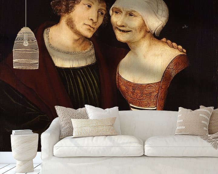 Beispiel fototapete: Lucas Cranach.Alte Frau mit jungem Mann