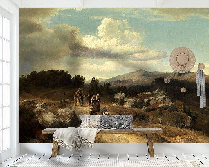 Beispiel fototapete: Oswald Achenbach.Sonnenuntergang in einer römischen Landschaft