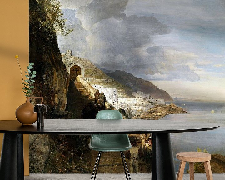 Beispiel fototapete: Oswald Achenbach.Die Amalfiküste