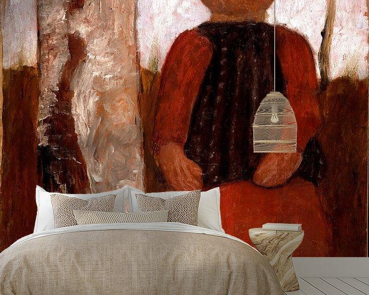 Beispiel fototapete: Paula Modersohn Becker.Kind im roten Kleid