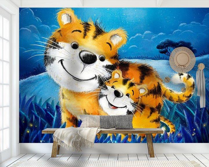 Beispiel fototapete: süßer Tiger mit Baby von Stefan Lohr
