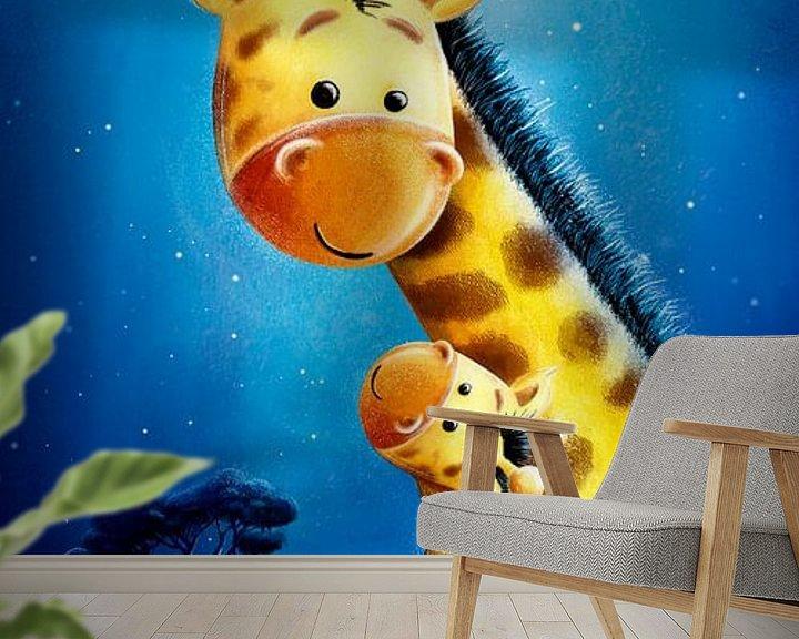 Beispiel fototapete: süße Giraffe mit Baby von Stefan Lohr