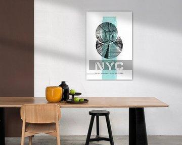 Poster Art NYC Brooklyn Bridge | türkis von Melanie Viola
