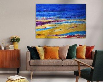 Texel in geel en paars van Ellen Tijmes