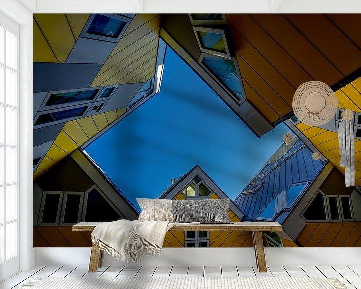 Sfeerimpressie behang: Rotterdamse Kubussen van Leo Luijten