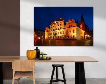 Klassizistisches Güstrower Rathaus, Marktplatz, Güstrow, Mecklenburg-Vorpommern, Deutschland, Europa von Torsten Krüger
