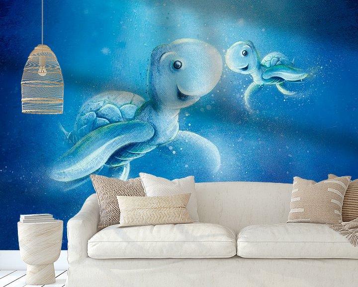 Beispiel fototapete: süße blaue Schildkröte mit Baby von Stefan Lohr