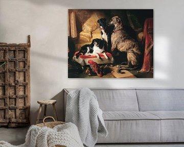 Hector, Nero und Dash mit dem Papagei, Lory, Edwin Landseer