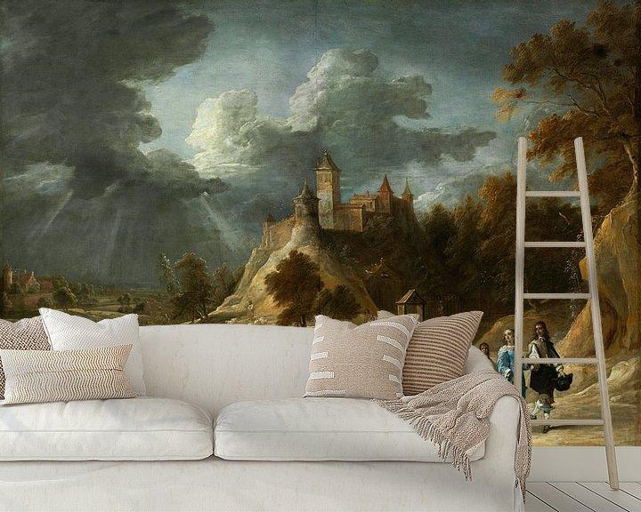 Beispiel fototapete: Landschaft mit einem Schloss und promenierenden Grundbesitzern, David Teniers II