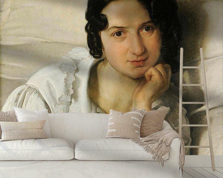 Sfeerimpressie behang: Portret van Carolina Zucchi, Francesco Hayez