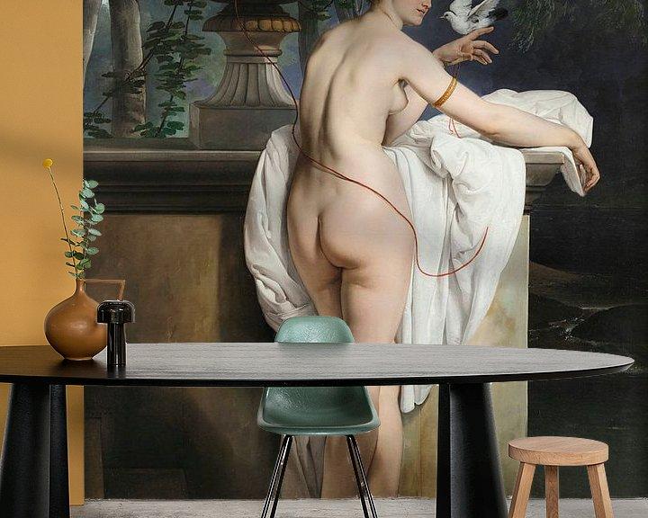 Sfeerimpressie behang: Venusgrap met twee duiven (Portret van de danseres Carlotta Chabert), Francesco Hayez