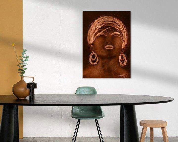 Beispiel: Afrikanische Frau in goldenem Sonnenschein. von Ineke de Rijk