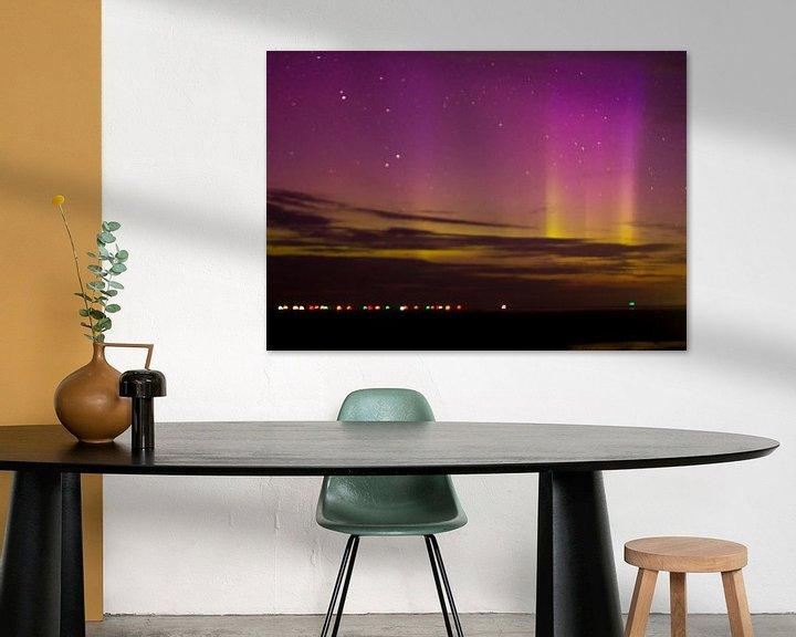 Sfeerimpressie: Noorderlicht boven Waddenzee van Anne Koop