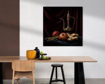 Granatäpfel mit arabischem Teekannen-Stilleben von MICHEL WETTSTEIN