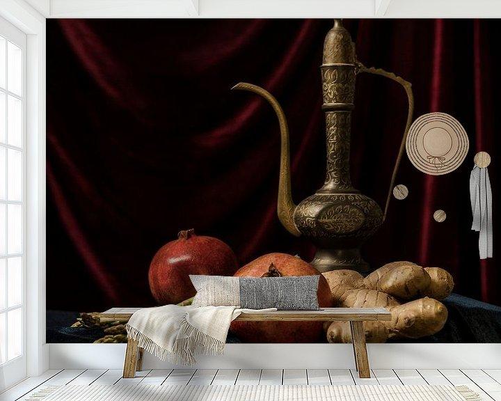 Beispiel fototapete: Granatäpfel mit arabischem Teekannen-Stilleben von MICHEL WETTSTEIN