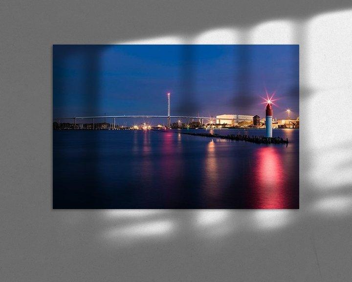 Beispiel: Rügenbrücke über den Strelasund in Stralsund am Abend von Werner Dieterich