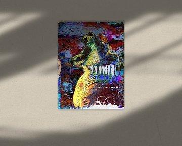 Knurrender und brüllender Löwe im Pop-Art-Stil von The Art Kroep
