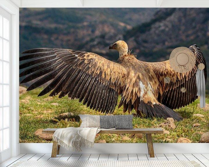 Sfeerimpressie behang: Vale Gier met gespreide vleugels, erg indrukwekkend van Photo Henk van Dijk